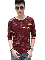 Men's  Plus Sizes Casual T-Shirt Round Neck Long Sleeve Black / Blue / Red / White Printing Tops