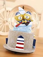 Girlfriend Birthday Gift Couple Bear Rotating Music Box Crystal Ball