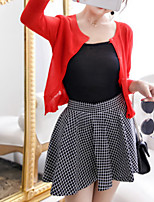 Boutique S Women's Going out Cute Spring / Fall Set Skirt,Solid Round Neck ¾ Sleeve Red Wool Opaque/Set