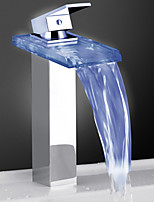 Glass Color Waterfall Bathroom Sink Faucet Basin Temperature Mixer tap(High)