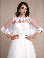 Women's Wrap Capelets Sleeveless Tulle White Wedding / Party/Evening Bateau 30cm Appliques Pullover