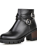 Women's Shoes Winter Motorcycle Boots / Round Toe Boots Dress / Casual Chunky Heel Buckle / Zipper Black / Yellow / Red