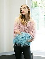 Women's Casual/Daily Simple Fur Coat,Rainbow Round Neck Long Sleeve Winter Pink Faux Fur Medium