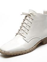 Черный / Белый-Женский-Для офиса / Для праздника / На каждый день-Лакированная кожа-На толстом каблуке-Военные ботинки / С квадратным