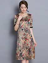 Women's Vintage Print Plus Size Dress,Round Neck Knee-length Silk / Polyester