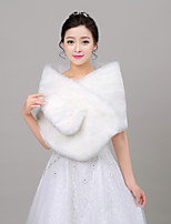 Women's Wrap Capelets Sleeveless Faux Fur Ivory Wedding Off-the-shoulder 40cm Feathers / fur Open Front