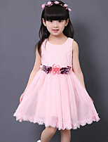 Girl's Going out Solid Dress,Polyester Summer Pink / White