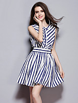 Women's Going out / Sports Street chic Loose Dress,Striped Round Neck Above Knee Sleeveless Blue Polyester Summer