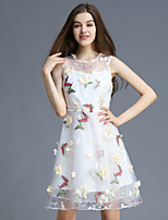 Boutique S Women's Casual/Daily Cute A Line Dress,Floral Round Neck Above Knee Sleeveless White Polyester Summer