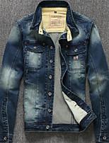 Men's Long Sleeve Plus Size Jacket,Cotton Solid Blue