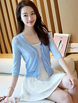 Women's Casual/Daily Simple Short Cardigan,Solid Blue / Pink / White / Purple V Neck ¾ Sleeve Cotton Spring Thin