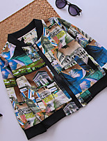 Girl's Casual/Daily Floral Blouse,Cotton / Polyester Fall Blue / Green / Orange