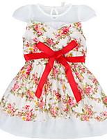 Hot 2016 New White/Navy Summer Kids Children Girls Flower Pattern Casual Sleeveless Dress in Multi-color for 2~7Y