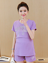 Women's Casual/Daily Cute Summer Set Pant,Print Round Neck Short Sleeve Pink / Purple Cotton Medium