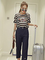 Boutique S Women's Going out Cute / Street chic Spring / Winter SetStriped Round Neck Short Sleeve Black Cotton