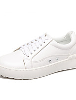Women's Sneakers Fall Comfort / Round Toe PU Outdoor / Athletic Flat Heel Lace-up White Others