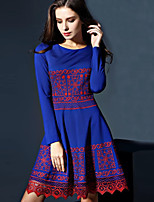 Boutique S Women's Casual/Daily Vintage A Line Dress,Embroidered Round Neck Above Knee Short Sleeve Blue Polyester Fall