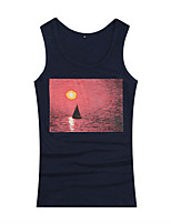 Summer Men's Casual/Work  Loose Comfortable Round Neck Sleeveless Printing Sport Tank Tops