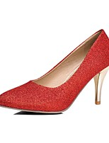 Damen-High Heels-Büro / Lässig-Kunststoff-Stöckelabsatz-Absätze / Spitzschuh-Rot / Silber / Gold