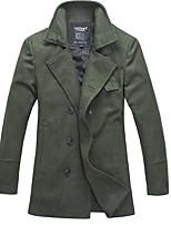 Lesmart Men's Stand Long Sleeve Trench Coat Green-KX13146