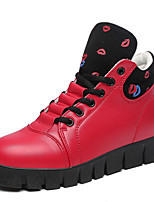 Women's Heels Fall / Winter Comfort / Round Toe / Closed Toe  Casual Flat Heel Lace-up Black / Red / White Walking