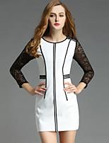 Viva Vena® Damen Rundhalsausschnitt Lange Ärmel Mini Kleid-VA88215