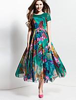 BORME® Femme Col Arrondi Manche Courtes Maxi Robes-Z116GR