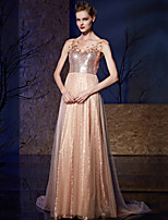 Formal Evening Dress A-line Bateau Court Train Tulle / Sequined with Appliques / Sequins