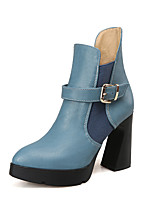 Women's Boots Spring / Fall / Winter Platform / Fashion Boots Leatherette / Casual Chunky Heel Buckle Blue / Gray