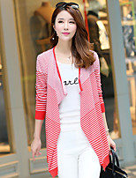 Women's Casual/Daily Simple Long Cardigan,Striped Blue / Red / Black V Neck Long Sleeve Cotton Spring / Fall Medium