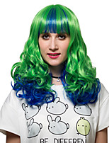 Green gradient in the long curly hair, Europe and the United States fashion wig.
