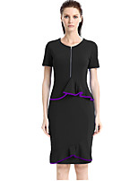 Women's Plus Size / Casual/Daily / Work Street chic Bodycon DressSolid Round Neck Knee-length Short Sleeve