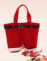 1pc Christmas Santa Claus Pant Suspender Candy Bag Decoration Holiday Dinner Party Gift