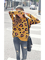 Women's Going out /Cute Regular Pullover,Leopard Yellow Round Neck Long Sleeve Wool Spring / Fall Medium