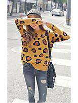 Damen Standard Pullover-Ausgehen / Lässig/Alltäglich Einfach / Niedlich Leopard Gelb Rundhalsausschnitt Langarm Wolle Frühling / Herbst