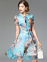 Boutique S Women's Going out Street chic Swing Dress,Floral Round Neck Above Knee Short Sleeve Blue Silk Summer