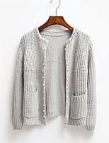 Damen Standard Strickjacke-Lässig/Alltäglich Einfach Solide Weiß / Grau Rundhalsausschnitt Langarm Baumwolle Frühling / Herbst Mittel