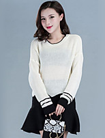 Women's Casual/Daily Street chic Regular Pullover,Patchwork Round Neck Long Sleeve Cotton Spring / Fall Medium