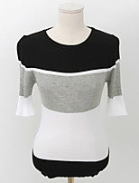 Women's Casual/Daily Street chic Regular Pullover,Color Block Pink / Black Round Neck ½ Length Sleeve Cotton Fall Medium