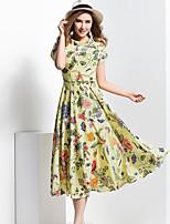 BORME® Women's Stand Short Sleeve Bohemia Floral Print Tea-length Dress-Y010
