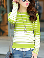 Women's Going out / Casual/Daily Street chic Regular Pullover,Striped Pink / White / Black / Green / Yellow Crew
