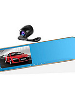 Car Rearview Mirror Tachograph Dual Lens Blue Mirror HD Wide-Angle Vision Gold Metal Nouveau Riche