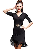 Latin Dance Dresses Women's Training Milk Fiber Tassel(s) 1 Piece  Latin Dance Half Sleeve High Dress