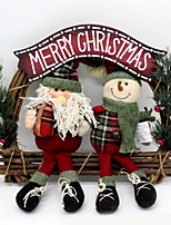 Santa Snowman Christmas Wreath Door Hanging Manual Vines Welcome Doorplate (Random Shape)