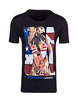Men's Print Casual T-Shirt,Cotton Short Sleeve-Black / White / Gray