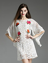 Boutique S Women's Casual/Daily Sexy Shift Dress,Embroidered Round Neck Above Knee ½ Length Sleeve White Polyester Fall