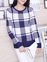 Women's Going out Cute Regular Pullover,Plaid Blue Round Neck Cotton / Acrylic Fall Medium