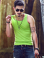 Men's Solid Casual Tank Tops,Cotton Sleeveless-Black / Green / White / Yellow / Gray