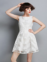 DREAMY LAND  Women's Going out Cute Dress,Solid Round Neck Above Knee Sleeveless White Others Summer