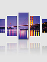 JAMMORY Canvas Set Landscape Modern,Five Panels Gallery Wrapped, Ready To Hang Vertical Print No Frame Night Bridge